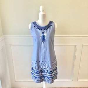 VINEYARD VINES Chambray Embroidered Shift Dress 0